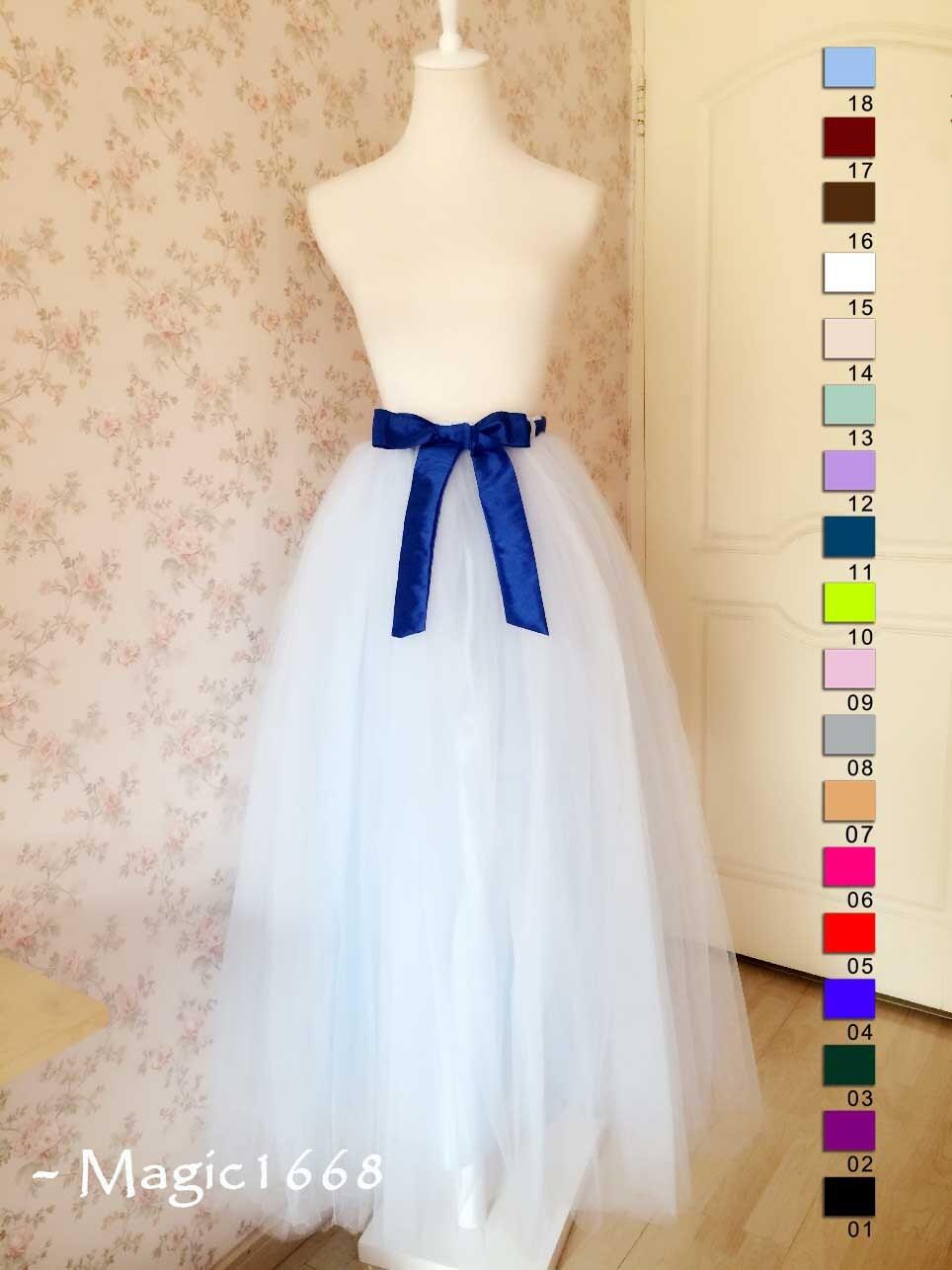 a8e4d2ddc160 Frozen Princess -Maxi Tutu skirt Adult Long Tutu Skirt Women Light Blue  Fairy Wedding Tutus Long Tulle Tutu Adult Women Clothing-magic1668