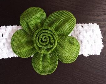 Burlap Flower Headband || Green