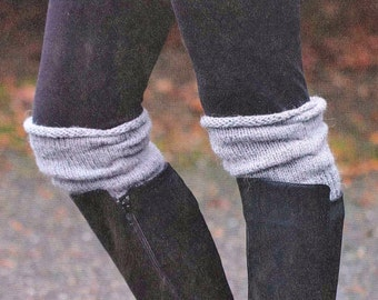 Women's Boot Cuffs, Knit Boot Cuffs, Boot Toppers, Leg Warmers, Boot Warmers, Boot Socks, Boot liners / THE OWYHEE  / Grey