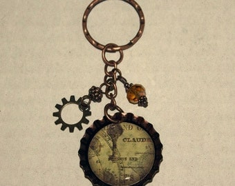 Beaded Bottlecap Keychain - Ornamental Key