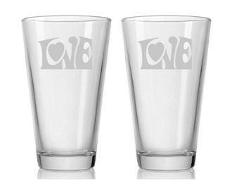 Custom Etched Love Tumbler Glasses / 16oz Pint Glasses / Set of 2 / Valentine's Day Gift