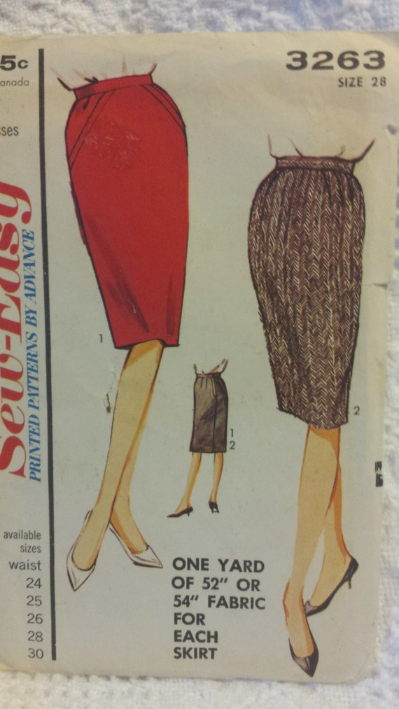 vintage advance 3263 60s pencil skirt pattern by