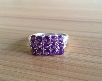 AAA quality 7.67 carat natural african amethyst women ring in 925 sterling silver