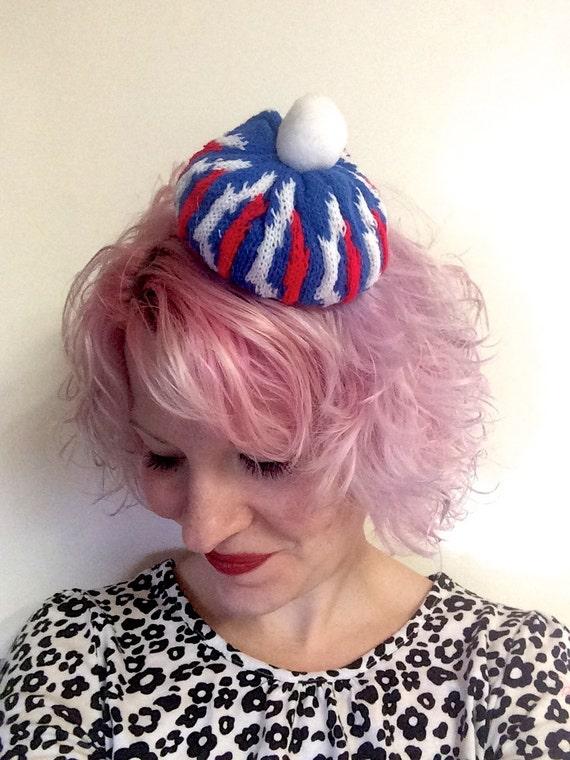 Vintage Knit Bobble Mini Hat Hair Clip Novelty Fascinator