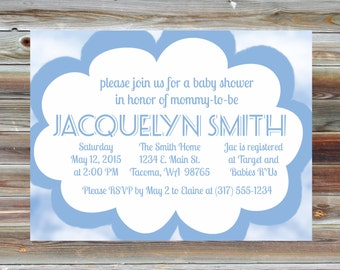 Cloud Baby Boy Shower Invitation - Blue Cloud Theme Baby Shower - Custom Cloud Baby Shower Invitation - Baby Shower Party Invite