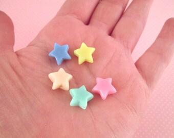 Pastel Fairy Kei Star Beads,  12mm Kawaii beads #742