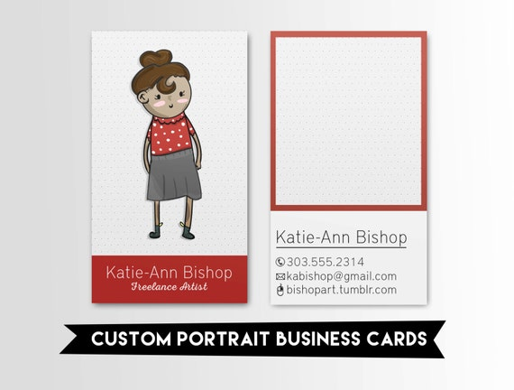 Character Design Business Card : Custom business card character eye catching cute red