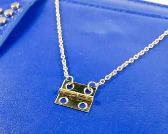 Gold Metal Hinge Necklace // Hardware Jewelry