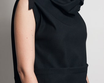 Fasada f/1506 black neck dress tunic with cowl neck