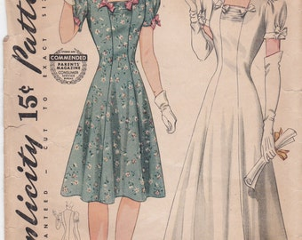 Vintage Simplicity Unprinted Sewing Pattern 3914 Fit and Flared Dress or Gown Bust 34