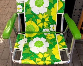 Vintage Aluminum Folding Lawn Chair 60s 70s Retro Floral