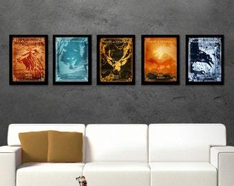 COMPLETE SERIE minimalist tv posters, illustration, poster set, House print, Emblem Wall Art,