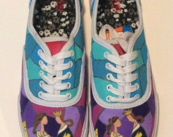 Hand Painted Beauty and the Beast Shoes, Disney Beauty and the Beast, Princess Belle, New Style
