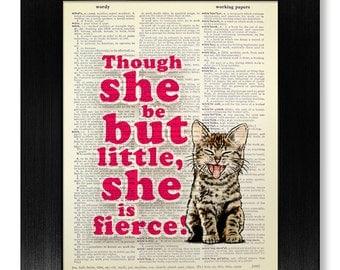 Kid Wall Art, BEDROOM Wall Decor, Baby Boy NURSERY Print Girl Nursery Decor, Girl Room Decor, Cat Poster, SHAKESPEARE Quote - She is Fierce