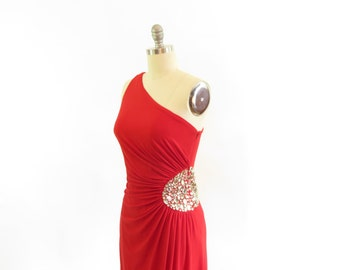 SALE - Vintage 1970's One Shoulder Red Maxi Dress with Studded Bodice!