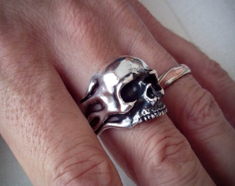 Half jaw Skull and Flames Ring - Biker Silver Ring -  Free Shipping