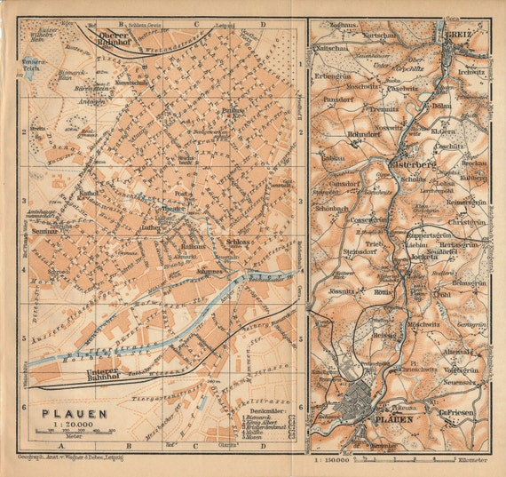 Plauen Germany  city photo : 1910 Plauen Germany Antique Map by Figure10 on Etsy