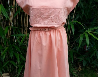 1980s does 1950s St Michael peach-coloured rockabilly summer dress