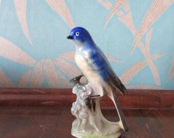 Vintage Japanware chalkware bird on branch ornament