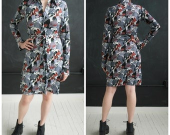 Rare Vintage 1970s Novelty Crowd People Print Huk-a-poo Shirt Dress Size Small Disco