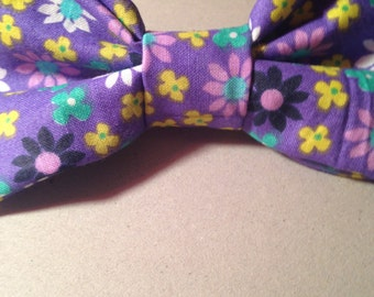 Handmade Purple Floral Hair Bow with Attached Barrette