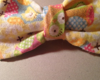 Glitter Flannel Owl Hair Bow with Attached Barrette!