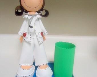 Muñeca hecha a mano, enfermera muñeca, muñecas arte, coleccionables muñecas, muñeca personalizada, Fofucha, Baby shower, regalo del bebé, primeros de la torta, regalo mamá, regalo