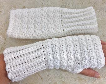 Crochet White Fingerless Gloves, White Fingerless Mittens Long Large Teen Adult Size Fingerless Mitts Women Gifts under 20 for Her Handmade