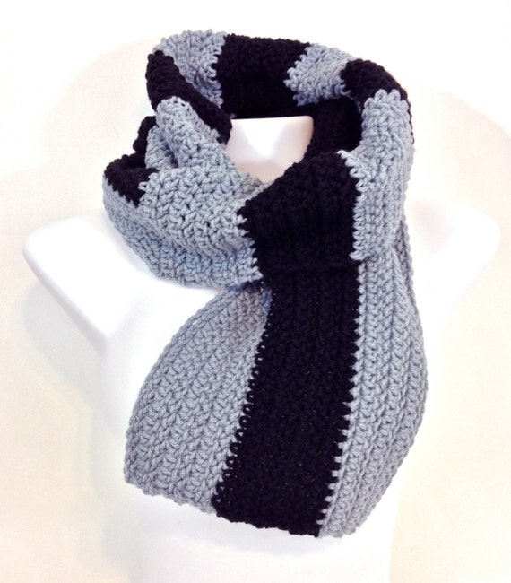Crochet Scarf Pattern Vertical Stripes : Items similar to Crochet Scarf Grey Black Opposing Stripes ...
