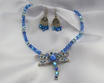Crystal Dragonfly Necklace and Earring set