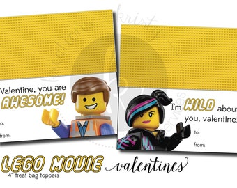 Valentine's Day Lego Movie Treat Bag Toppers Valentines, Digital File, Instant Download