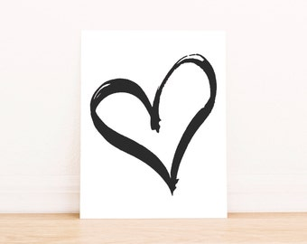 PRINTABLE Art Painted Heart Black and White Valentines Day Print Valentines Day Art Heart Print Heart Art Happy Valentines Day print
