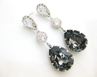 Swarovski Silver Night Black Earrings Charcoal Crystal Teardrop Bridal Earrings  Dark Grey Earrings Wedding Jewelry Bridesmaid Gift (E149)