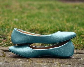 Bridal shoes Blue bridal shoes Blue wedding flats low heels Blue Wedding shoes Glitter wedding shoes bridal shoes blue SIZE 6