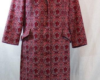 vintage dress and coat- Leslie Pomer - red dress - knit dress - dress set - vintage dresses - 60's dress