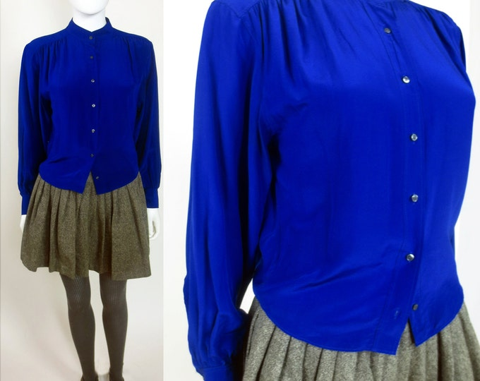 SOLD!! 90s Minimal bold cropped blouson silk blouse
