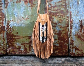 Arizona leather bag, tan color, boho   fringed bag