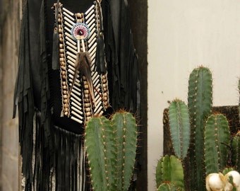 Black leather bag, fringe bag, boho bag, gypsy bag