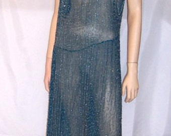 1920's Teal Blue Flapper Dress with Silver Beadwork Designs