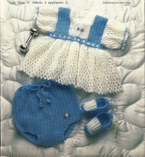 Baby Dress Panties Slippers Vintage Crochet by PatternMania3