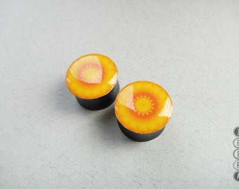 Pair plugs yellow mandala image wooden ear gauges 6,8,10,12,14,16,18,20,22,25-60mm;6g,4g,2g,0g,00g;1/4,5/16,3/8,1/2,9/16,5/8,3/4,7/8,1 1/4""