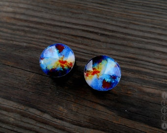 Pair plugs Galaxy image ear Gauges wooden 4,5,8,10,12,14,16,18,19,20,21-60mm;6g,4g,2g,0g,00g;1/4,5/16,3/8,1/2,9/16,5/8,3/4,7/8,1 1/4,1 9/16""