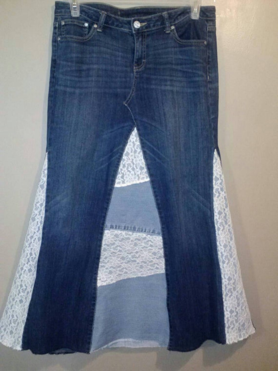 jean skirt with denim and lace by