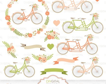 Wedding Bicycles Clip Art- Tandem- Peach Floral Bicycles- Wedding invitations- Floral Wreath- Flower Bicycles- Flower Basket-Banners- Bikes
