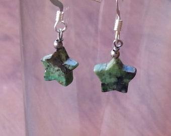 Earrings turquoise stars, OOAK, star bead earrings, green turquoise stars, gemstone star jewelry, turquoise earrings, gift for girl, E17
