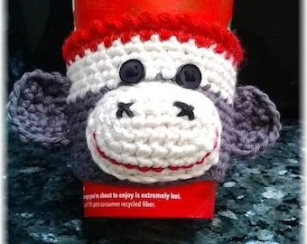 Made To Order Hand Crochet Sock Monkey Coffee Sleeve & Bottle Cozy