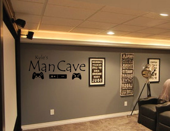 Man Cave Wall Decor : Vinyl wall decal man cave home decor art by