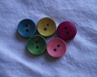 Assorted colours wood buttons 15mm