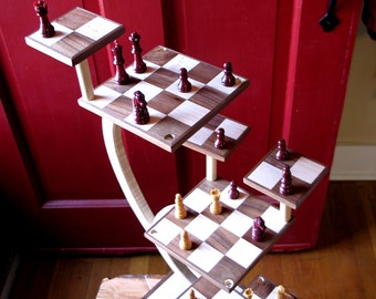 Wood carving chess etsy - Tri dimensional chess board ...