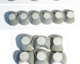 Six concrete tealight holders in giftbox